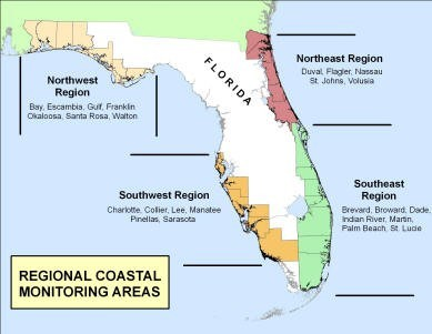 Florida map showing DEP Regional Coastal Monitoring Areas (NW, NE, SW & SE) with a list of included counties