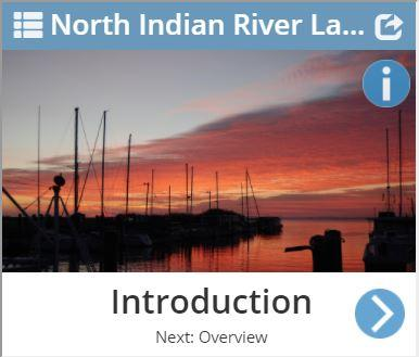 "North Indian River Lagoon Story map ""introduction"" page"
