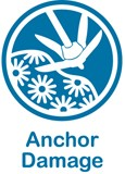 Blue and white web button for anchor damage