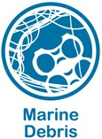 Blue and white web button for marine debris