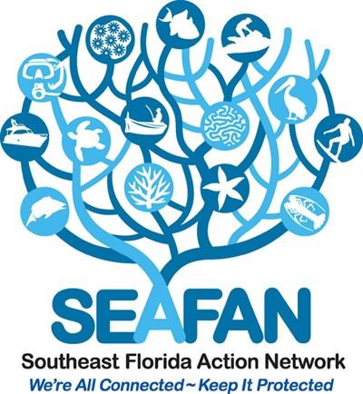 Blue and white web button for Southeast Florida Action Network