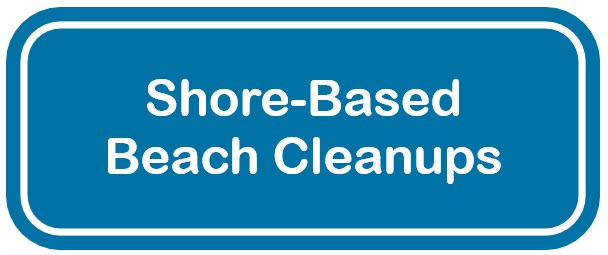 Blue and white web button for shore-based cleanups