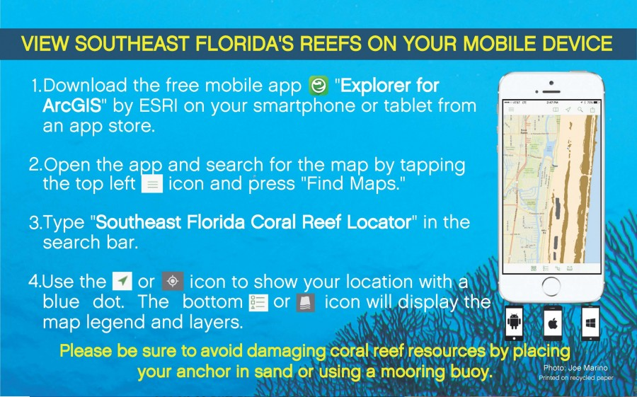 ESRI mobile app to view reefs in southeastern Florida