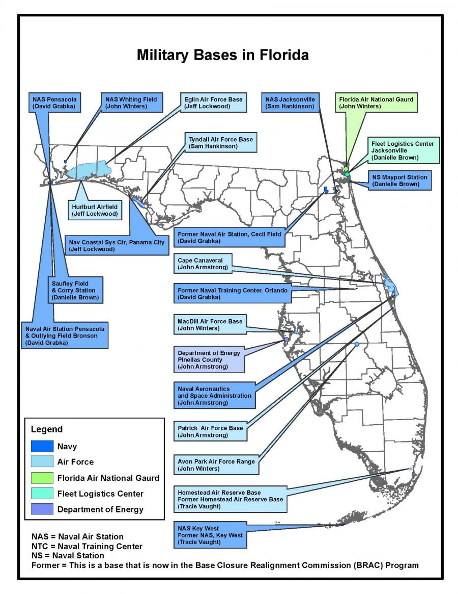 Air Force Bases In Florida Map In house graphics map Military Bases in Florida. | Florida