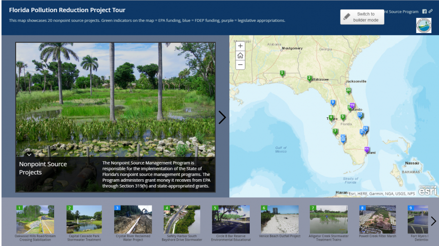 Screenshot showing the Non-point Source Projects interactive story map that shows DEP and EPA funded projects.