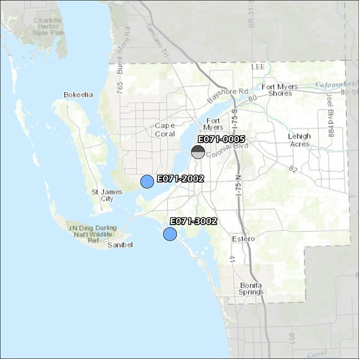 Lee County Air Monitoring Map