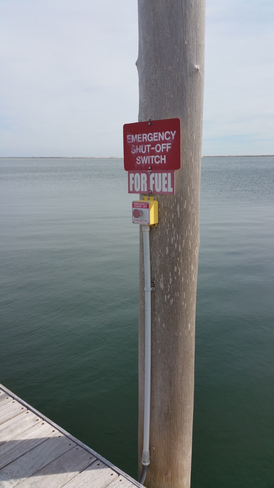 An emergency button at Lost Key Marina