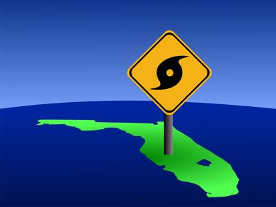 Map of Florida With Hurricane Sign