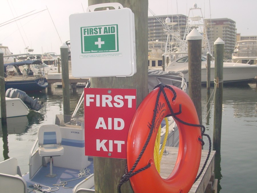First Aid kit on dock at Marbella Yacht Club