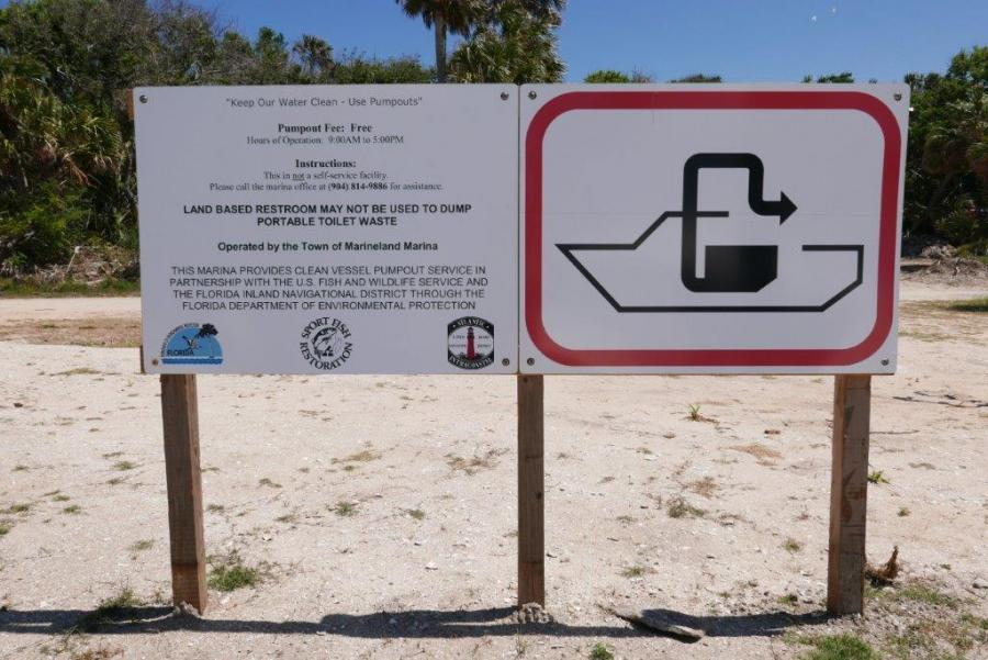 A Clean Pumpout sign posted at Mainland Marina in Palm Coast, Florida