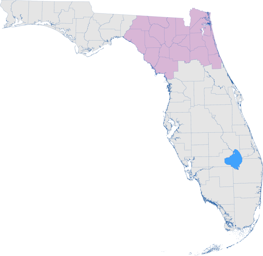 Florida map with Northeast District counties highlighted