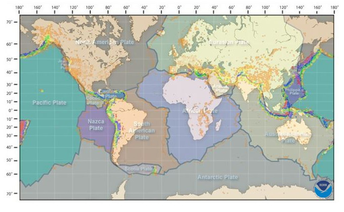NOAA - Ocean Explorer Earthquake and Plate Boundary Map