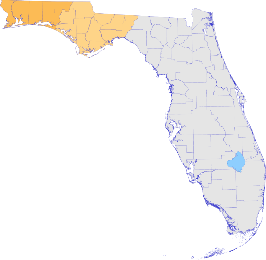 Map of Florida with Northwest counties highlighted