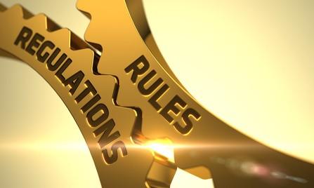 Rules Regulations Concept - Golden Cog Gears - 3D