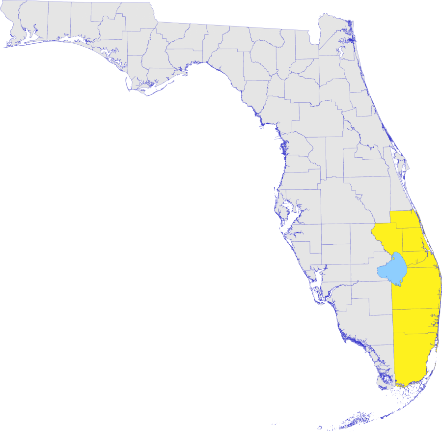 Florida map with Southeast District counties highlighted