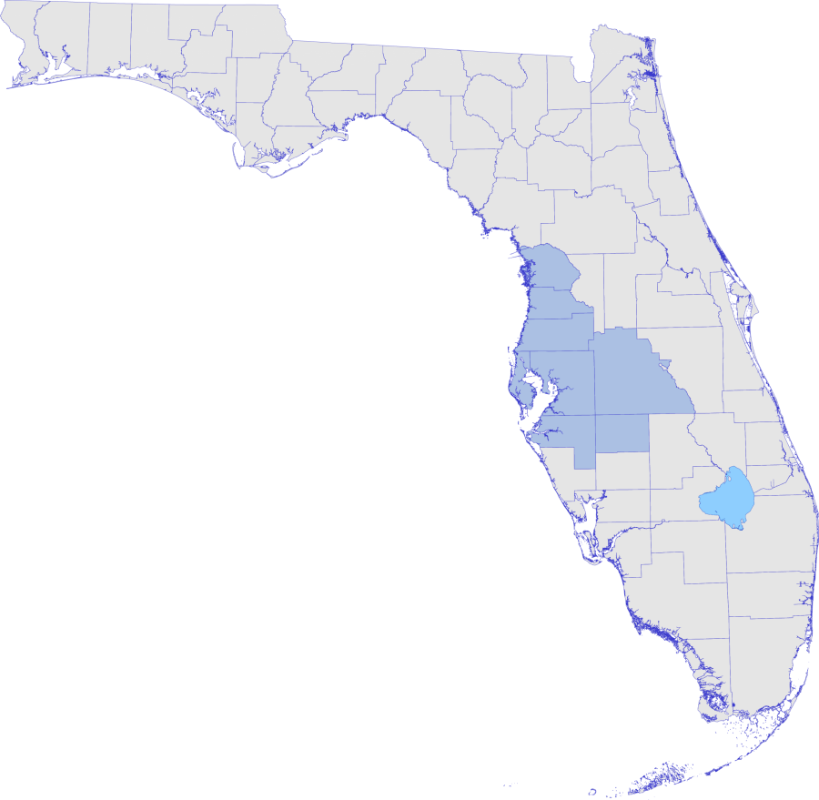 Florida map with Southwest District counties highlighted
