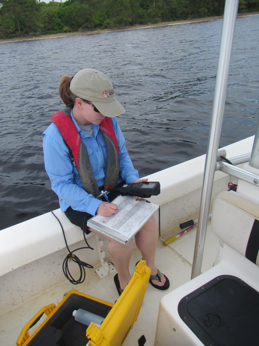 At several monitoring sites in St. Andrews Aquatic Preserve, staff record eight abiotic water quality parameters on a monthly basis.