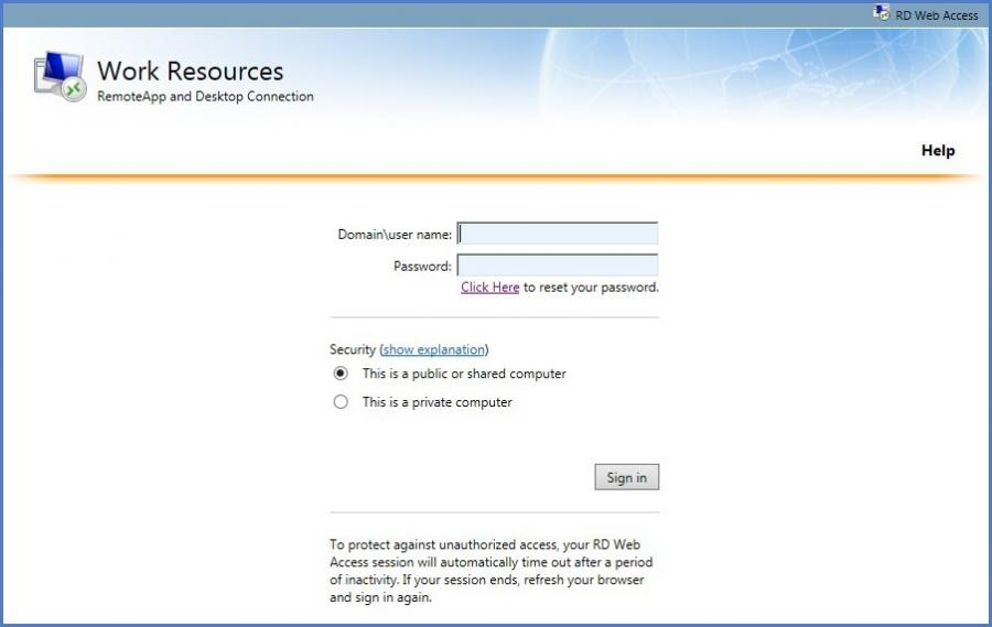 Network Login Sceenshot 1