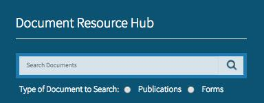 Document Resource Hub on the Front page, a place to search for any document or form through the website.
