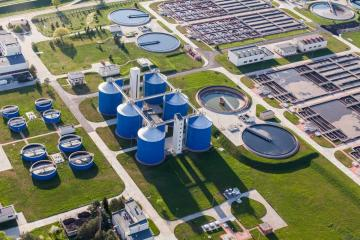 Aerial View of Sewage Treatment Plant Banner