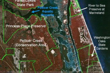 A map pointing out Pellicer Creek Aquatic Preserve and adjacent protected areas.
