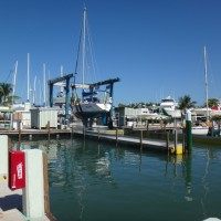 View of the marina and boat lifts at Marathon Marina & Boatyard