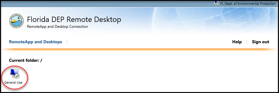 Remote Desktop - Click on the General Use icon
