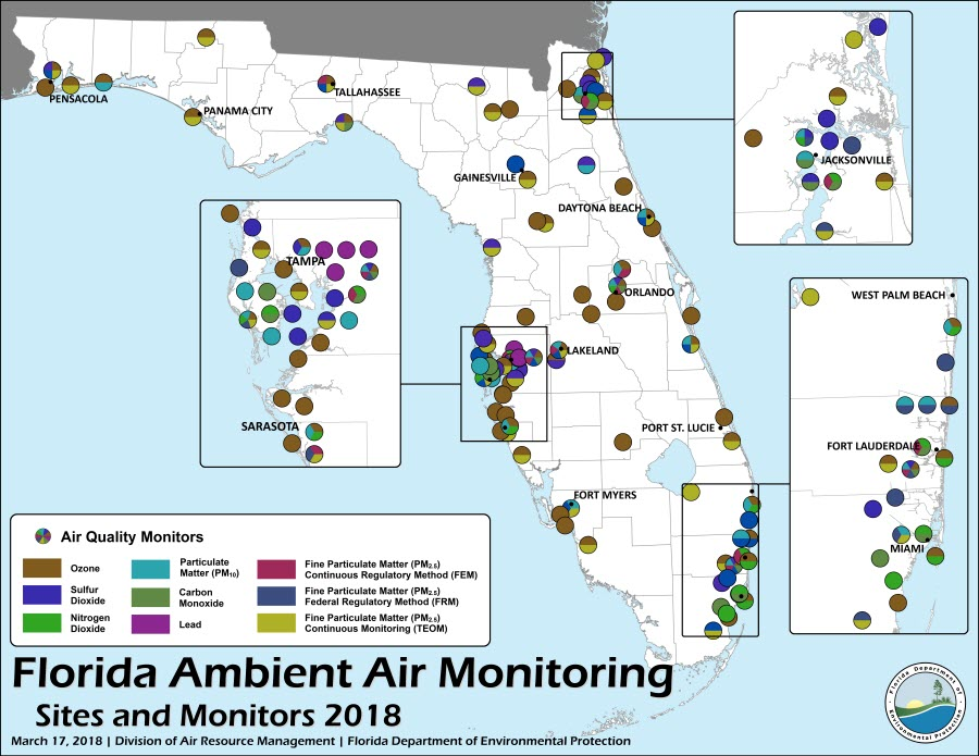 Map showing 2018 Ambient Air Monitoring Sites throughout the state of Florida.