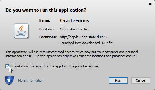 OracleForms pop up