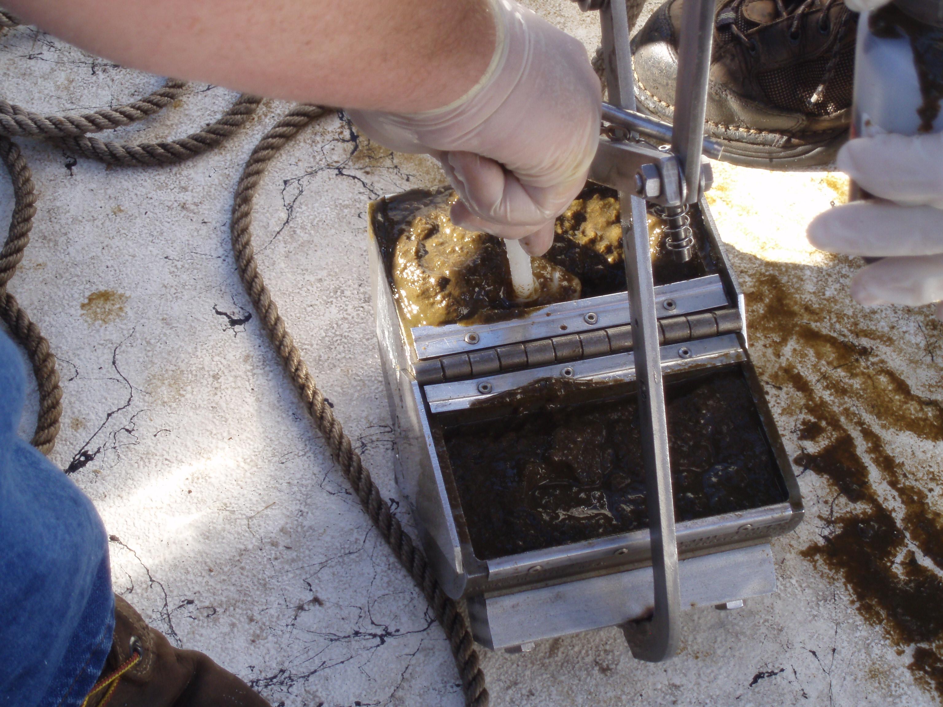 sampling dredge filled with sediment
