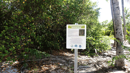 Informational sign on an island in Biscayne Bay Aquatic Preserves