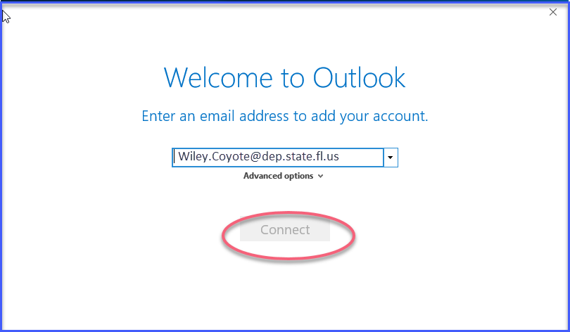 Remote Desktop -  Welcome to Outlook window
