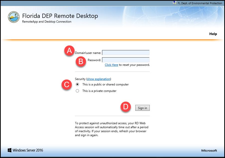 Remote Desktop Signin Screen