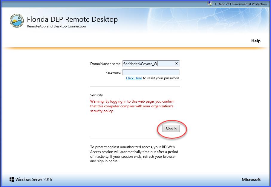 RemoteApp and Desktop Connection Login Screen