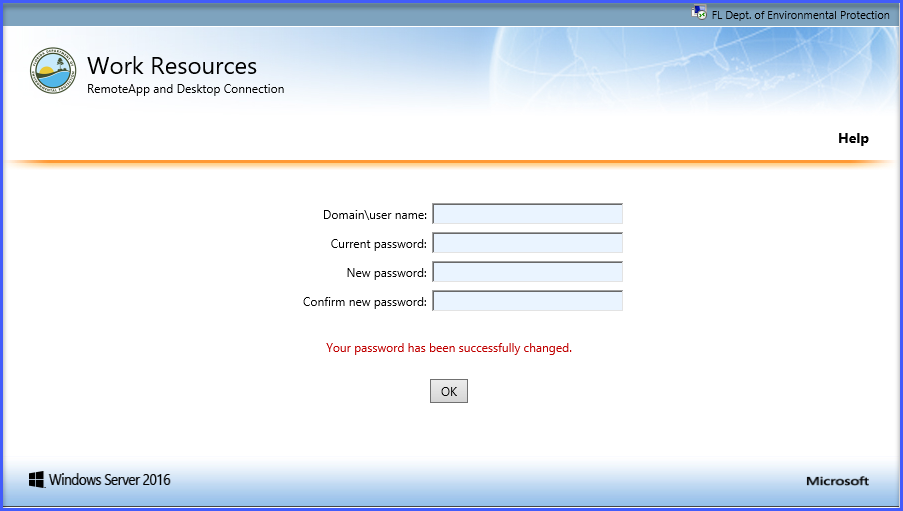 Upon successful password reset, you will receive the following confirmation window.  Click OK.