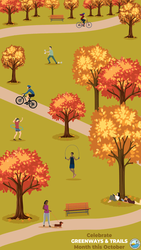 Celebrate Greenways & Trails month in October iphone background