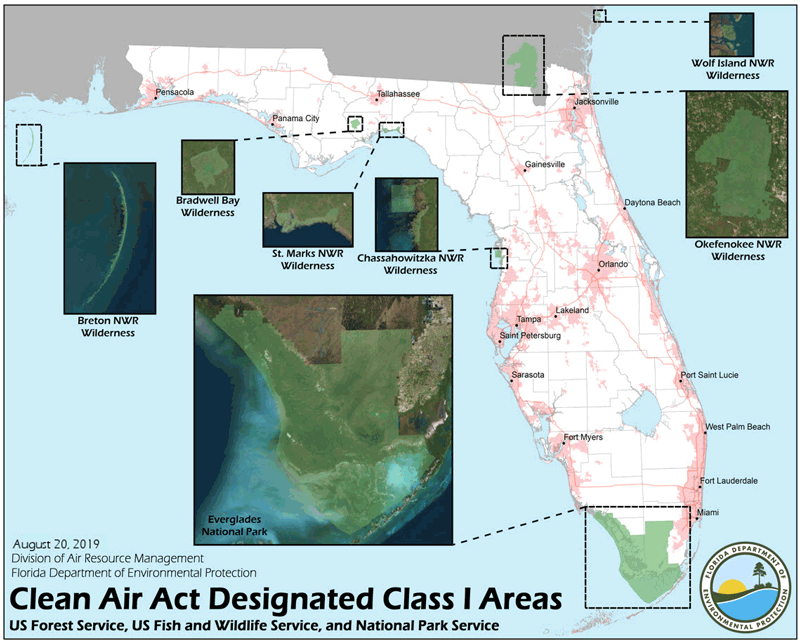 Map of Florida's Clean Air Act Designated Class I Areas