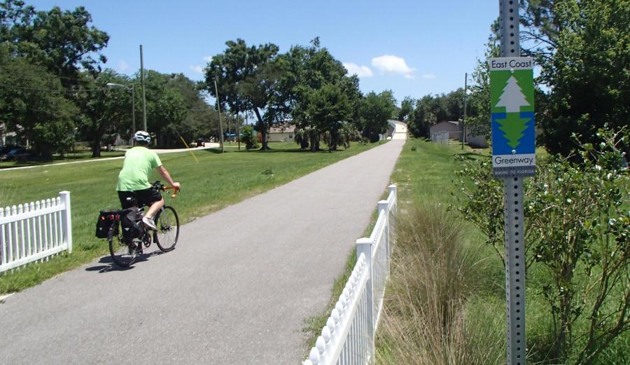East Coast Greenway rider in Titusville, by Doug Alderson, OGT