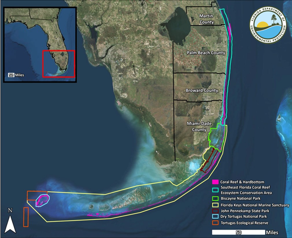 Map of the Southeast Florida Coral Reef Ecosystem Conservation Area