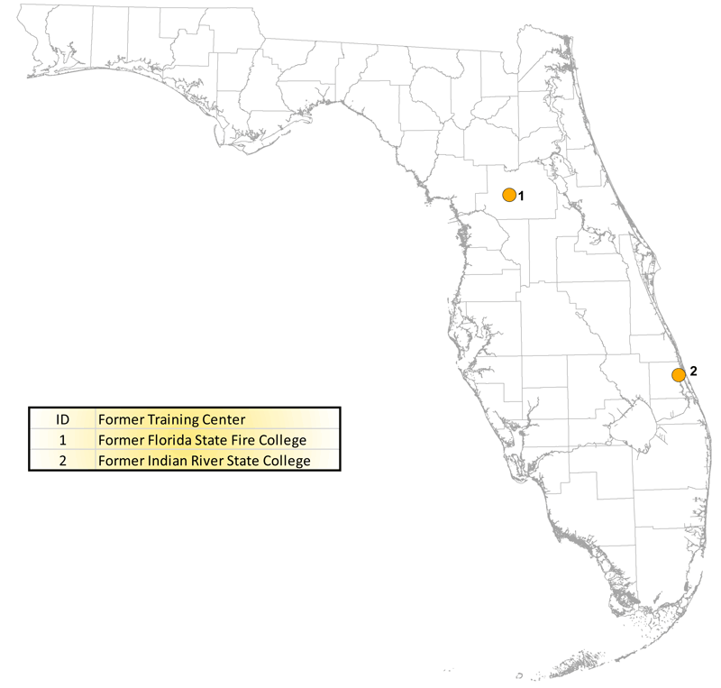 Map of former Florida certified fire training facilities with reported usage of Aqueous Film Forming Foam (AFFF)