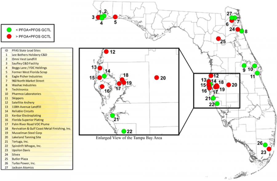 Map of State Funded Site PFAS Efforts in Florida