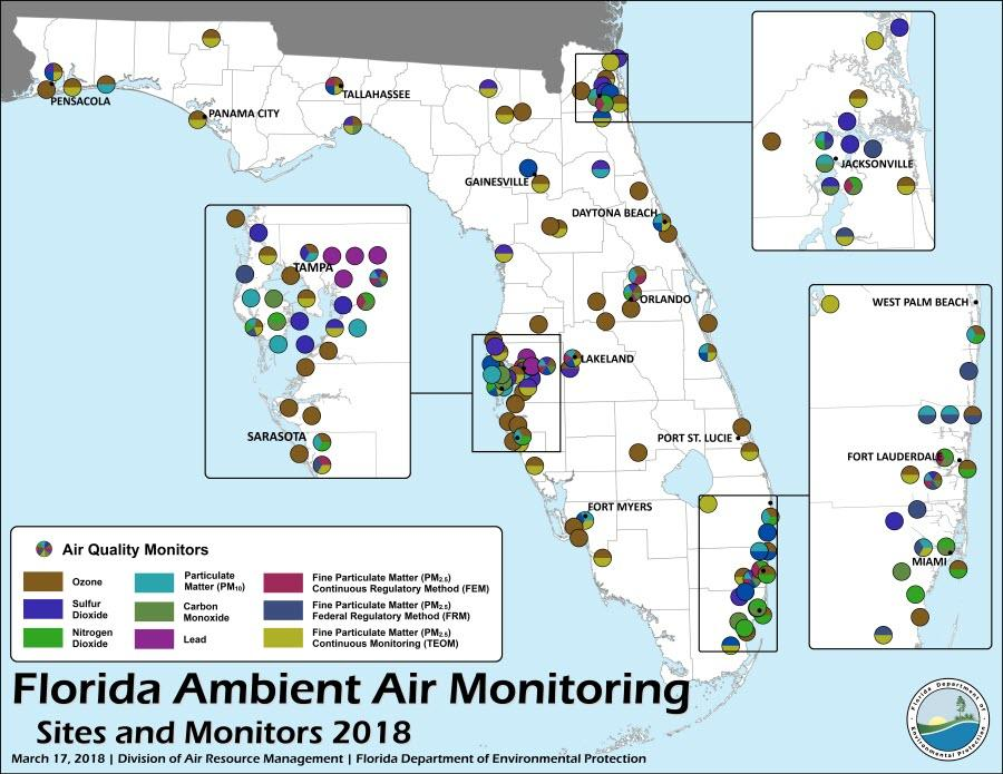 Map showing 2018 Ambient Air Monitoring Sites throughout the state of Florida. Click to open a downloadable PDF.
