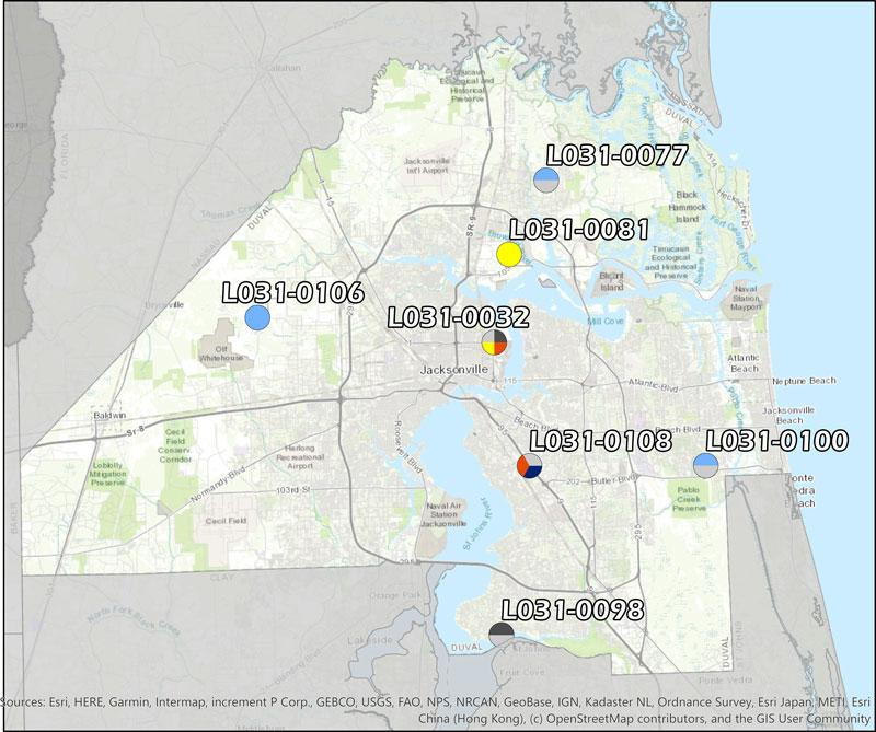 Duval County Ambient Monitoring Network consisting of ten ambient monitoring sites