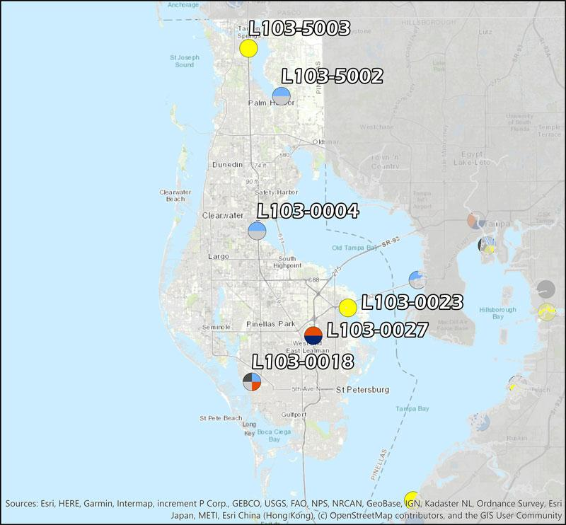 Pinellas County Ambient Monitoring Network consisting of six ambient monitoring sites