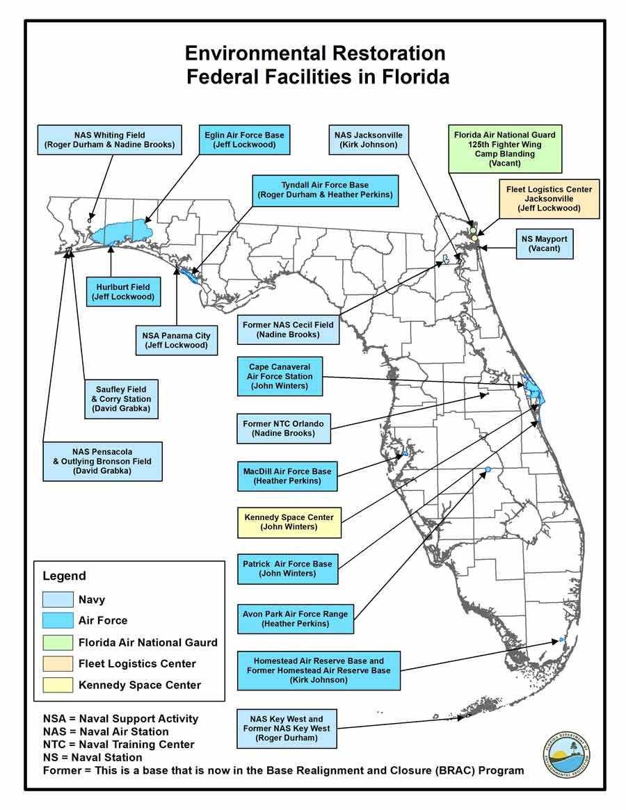 Map of Military Bases in Florida and corresponding Remedial Project Managers