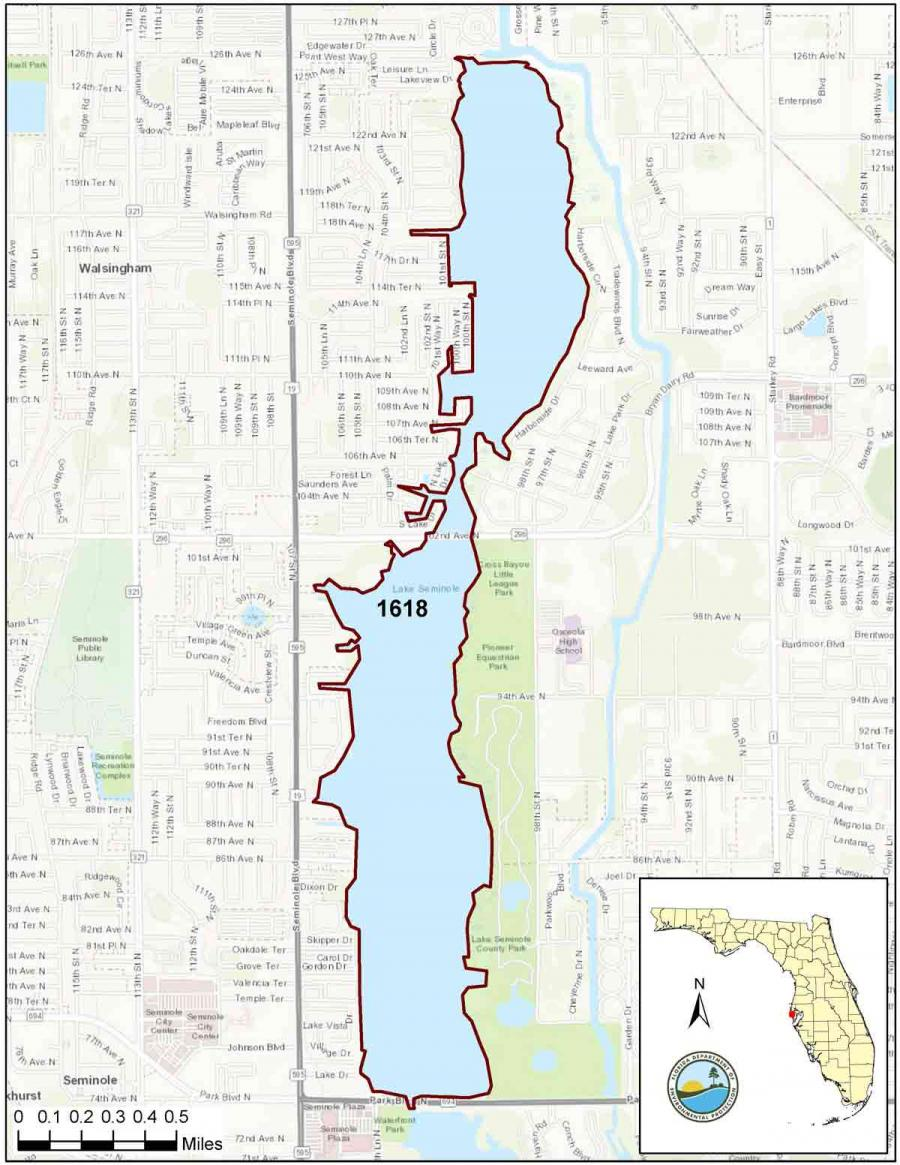 Map of WBID boundaries included in the Lake Seminole alternative restoration plan