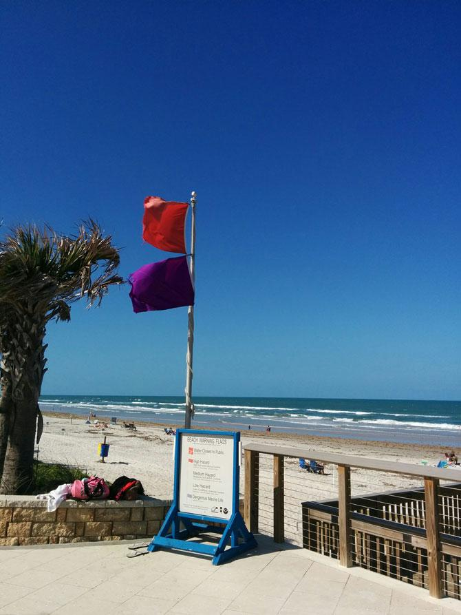 Beach Safety Flags flying near Ormond Beach, FL