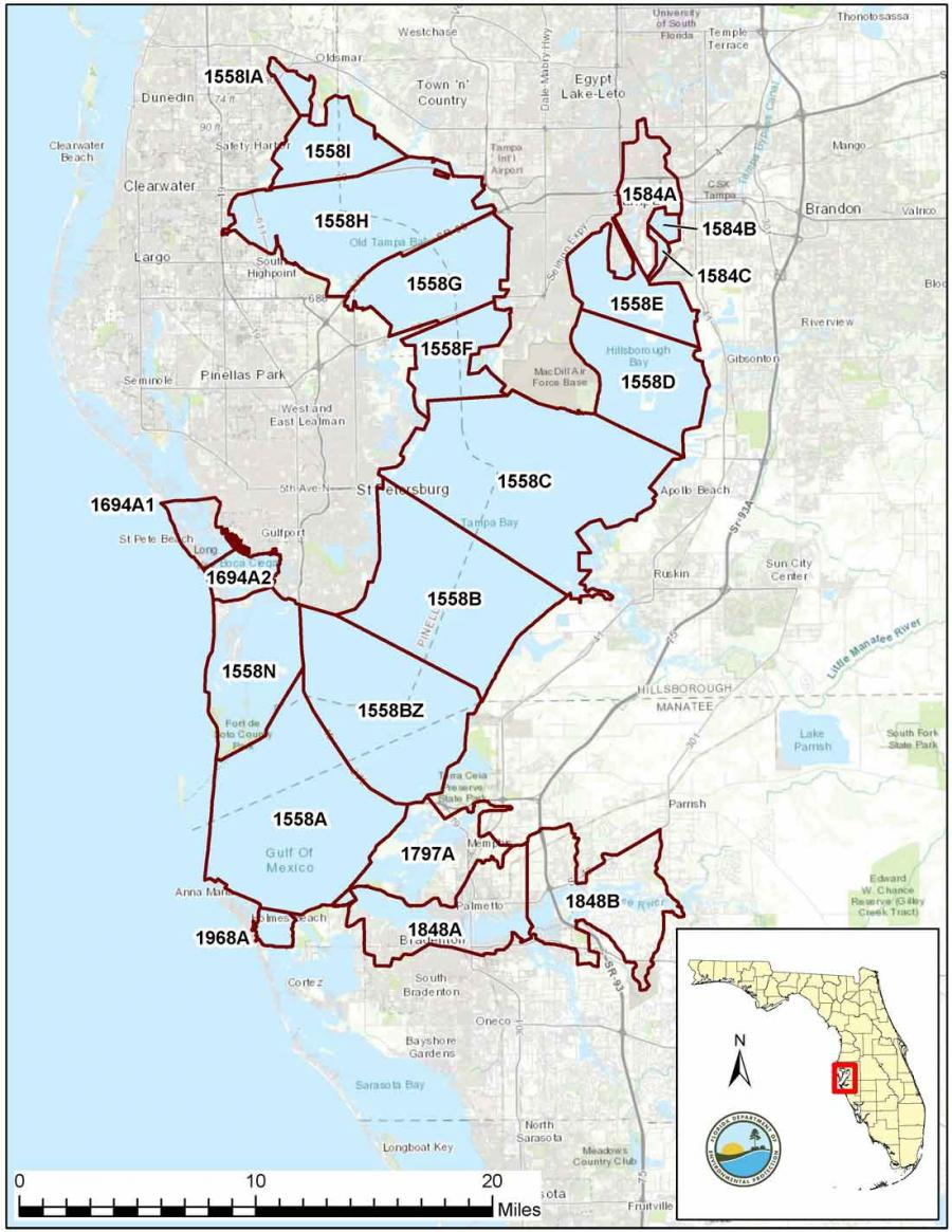 Map of WBID boundaries included in the Tampa Bay Alternative restoration plan
