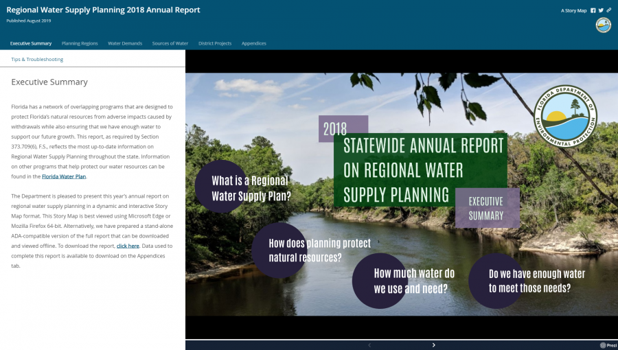 Regional Water Supply Planning 2018 Annual Report Screenshot