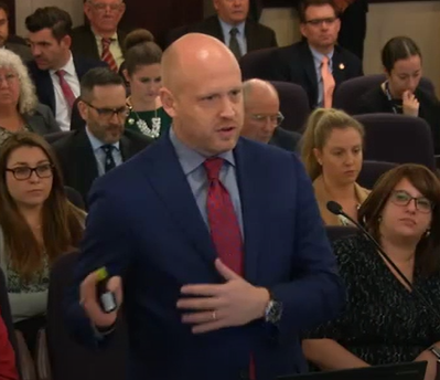 Picture of Secretary Noah Valenstein during the House Agriculture and Natural Resources meeting, as well as, the Senate Appropriations Subcommittee on Agriculture, Environment, and General Government meeting on February 6, 2019